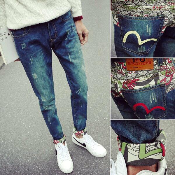 FINDSENSEH12018夏季日本個性磨邊牛仔褲小腳休閒褲男藍色九分褲潮男褲