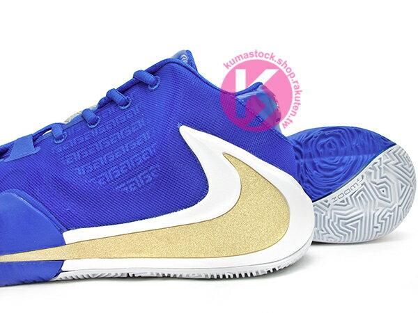 2019 最新款 Giannis Antetokounmpo 首款簽名籃球鞋 NIKE ZOOM FREAK 1 EP GREECE 藍白金 希臘 國家隊配色 後掌 ZOOM AIIR 氣墊 MVP 公鹿隊 (BQ5423-400) 1019 3