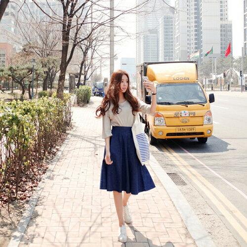 【免運 399元】牛仔裙 - 學院風大口袋造型側邊拉鍊A字中長傘裙【23291】 Blue Paris 1