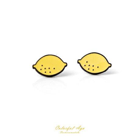 耳環 可愛水果系列檸檬耳針耳環 涼夏海天度假 甜美女孩專屬 柒彩年代【ND278】酸甜滋味 - 限時優惠好康折扣