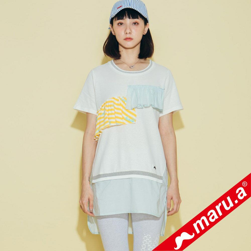 【maru.a】繽紛拼貼荷葉邊長版上衣(2色)8321315 0