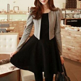韓版 時尚套裝外套+洋裝 韓風衣舍 小中大尺碼 現貨+預購