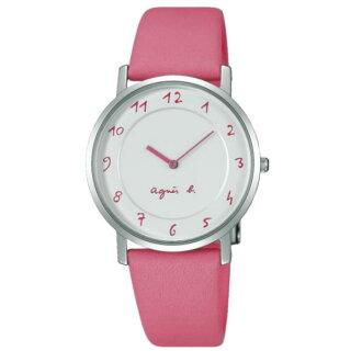 agnes b 7N00-0BC0P(BG4013P1)法式簡約時尚腕錶/白面粉紅33mm