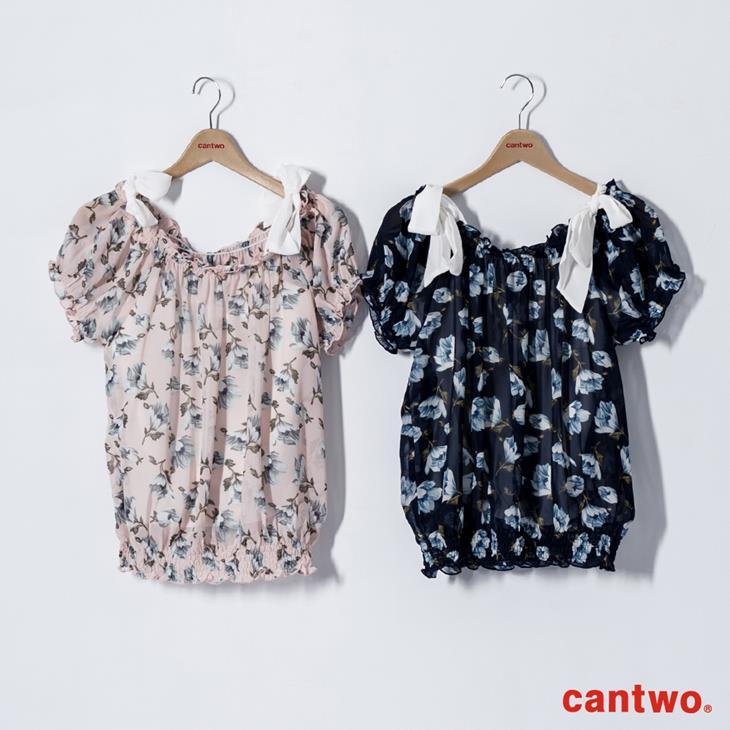 cantwo雪紡印花兩件式短袖上衣(共三色) 6