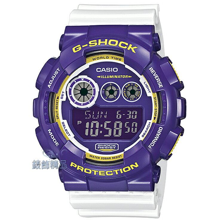 【錶飾精品】現貨CASIO卡西歐G-SHOCK大錶徑GD-120CS-6DR紫x白GD-120CS-6強烈視覺系 全新原廠正品 生日 情人節 聖誕 禮物 禮品