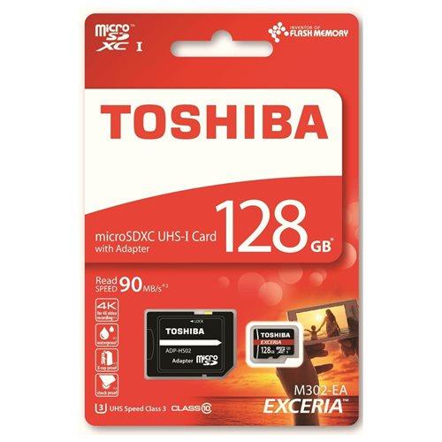 Toshiba EXCERIA M302 128GB 128G microSDXC 4K 90MB/s Class 10 UHS-I U3 C10 microSD micro SD SDXC Memory Card THN-M302R1280EA + OEM USB 2.0 Card Reader 2