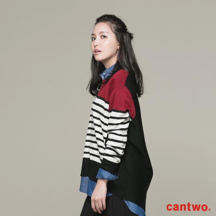 cantwo條紋拼接長袖針織上衣(共二色) 2