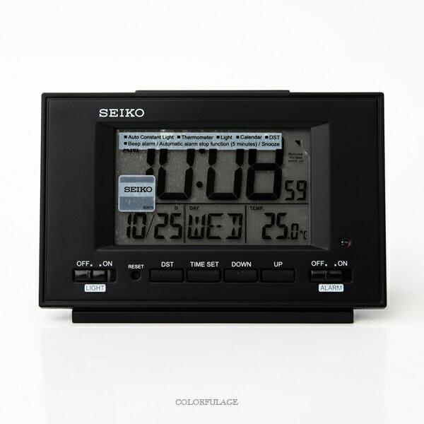 鬧鐘SEIKO全黑電子顯示座鐘柒彩年代【NV62】原廠公司貨