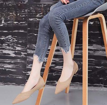 1CM休閒鞋 優雅氣質針織 平底尖頭包鞋 鞋跟金屬飾釦 OL上班族 3色【KDW012】