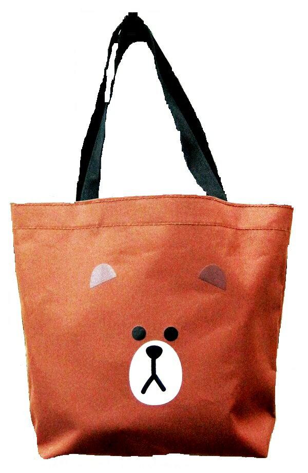 【禾宜精品】正版授權 Line Friends 熊大 棕色 手提袋 造型萬用袋 LI-5364-A [生活百貨]