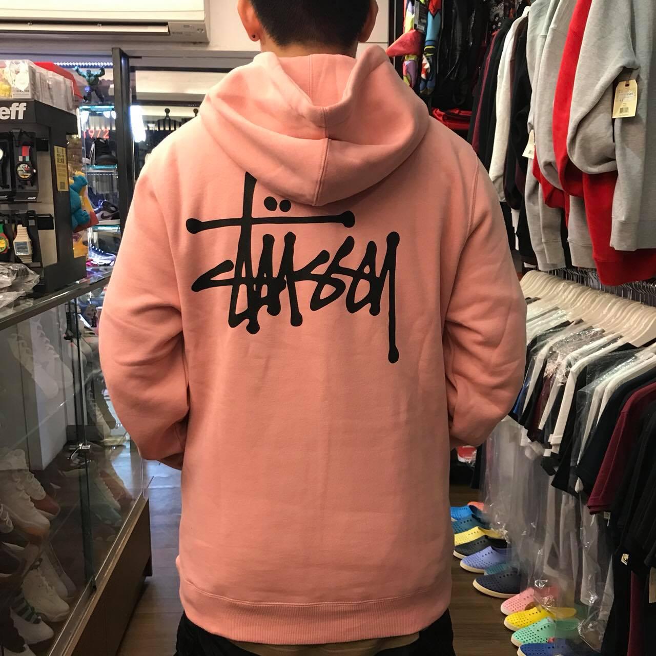 BEETLE 現貨 STUSSY BASIC HOODY 粉紅 黑 草寫 文字LOGO 連身帽T ST-49
