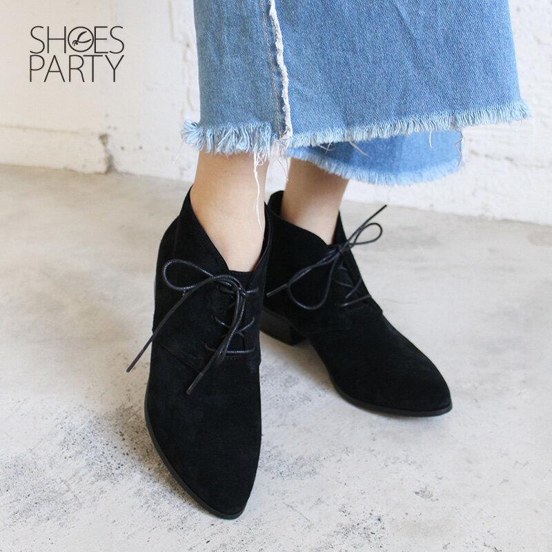 【B2-18121L】率性綁帶小尖頭短靴_Shoes Party 1