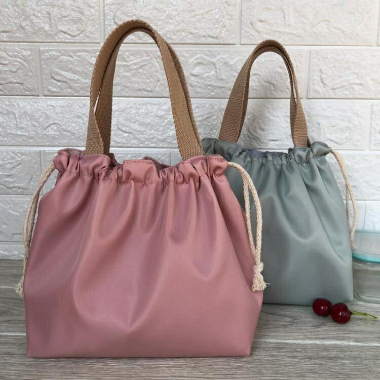 新款素色防水飯盒包手提包可愛抽繩便當袋午餐包帶飯包飯盒手提袋