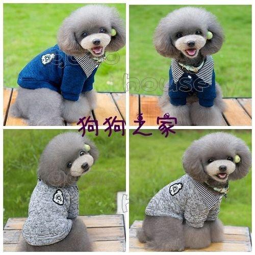 ☆狗狗之家☆韓版翻領 假兩件 刷毛上衣 外套 灰色 藍色