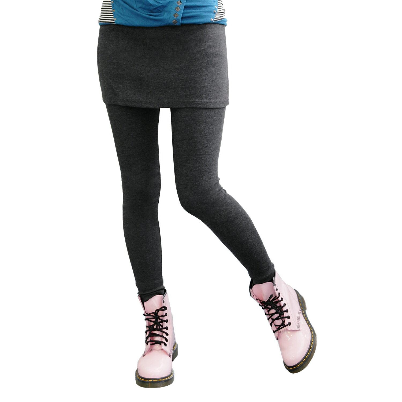 假兩件內搭褲--創造多重層次感-素面鬆緊帶假兩件內搭褲裙(黑.灰.藍.紅M-XL)-P31眼圈熊中大尺碼 1