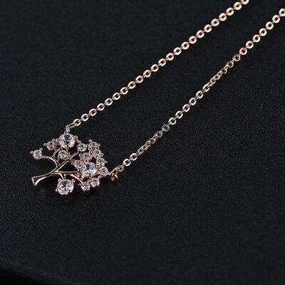 純銀項鍊 鍍18K金鑲鑽吊墜~非凡小樹 生日情人節 女飾品2色73dn134~ ~~米蘭