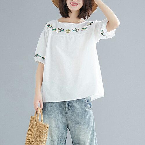圓領刺繡棉麻大碼短袖T恤(5色L~XL)【OREAD】 1