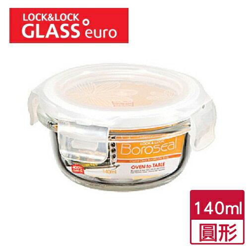 樂扣樂扣 耐熱玻璃保鮮盒圓形 140ml ~愛買~