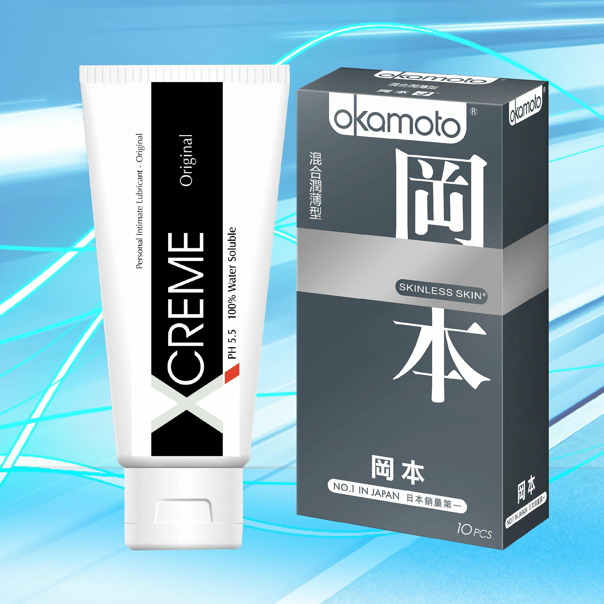 ★激情保養組★ 岡本SK混合型保險套/衛生套10入裝+XCREME超快感水感潤滑液-100ml