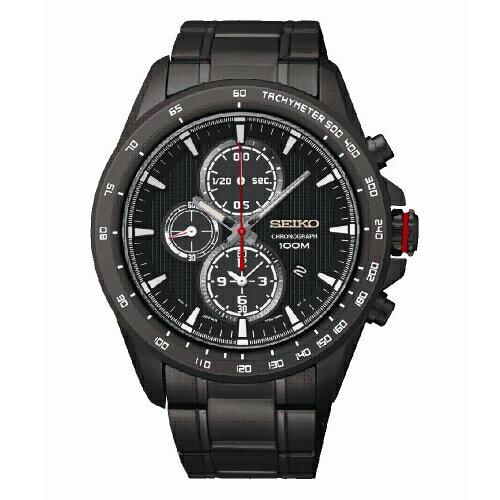 SEIKOCriteria時尚奔馳三眼計時腕錶黑鋼SNDG27P1(7T92-0SC0SD)