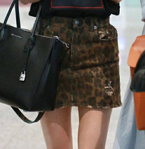復古刷破豹紋短裙 #1095