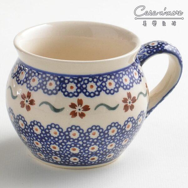 波蘭陶紅點藍花系列胖胖杯馬克杯咖啡杯水杯320ml波蘭手工製