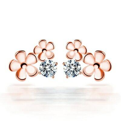 玫瑰金純銀耳環鑲鑽耳飾~可愛花朵 生日情人節 女飾品73dy79~ ~~米蘭 ~