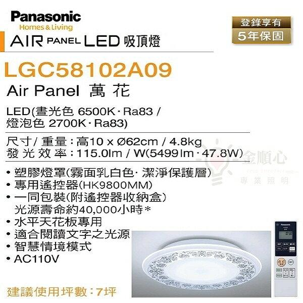 ☼金順心☼專業照明~日本製 Panasonic 國際牌 LED 47.8W LGC58102A09 萬花 遙控吸頂燈 7坪