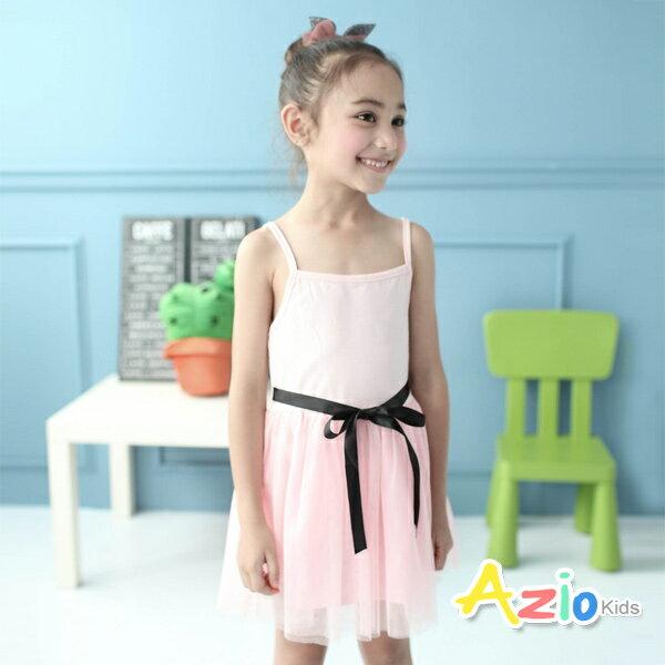《Azio Kids 美國派》洋裝 甜美蝴蝶結網紗細肩帶洋裝(粉)