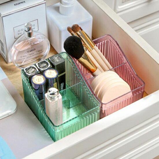 ●MYCOLOR●透明立體紋路梯形收納盒文具書桌整理盒桌面塑料盒子梳妝台化妝品【N455】