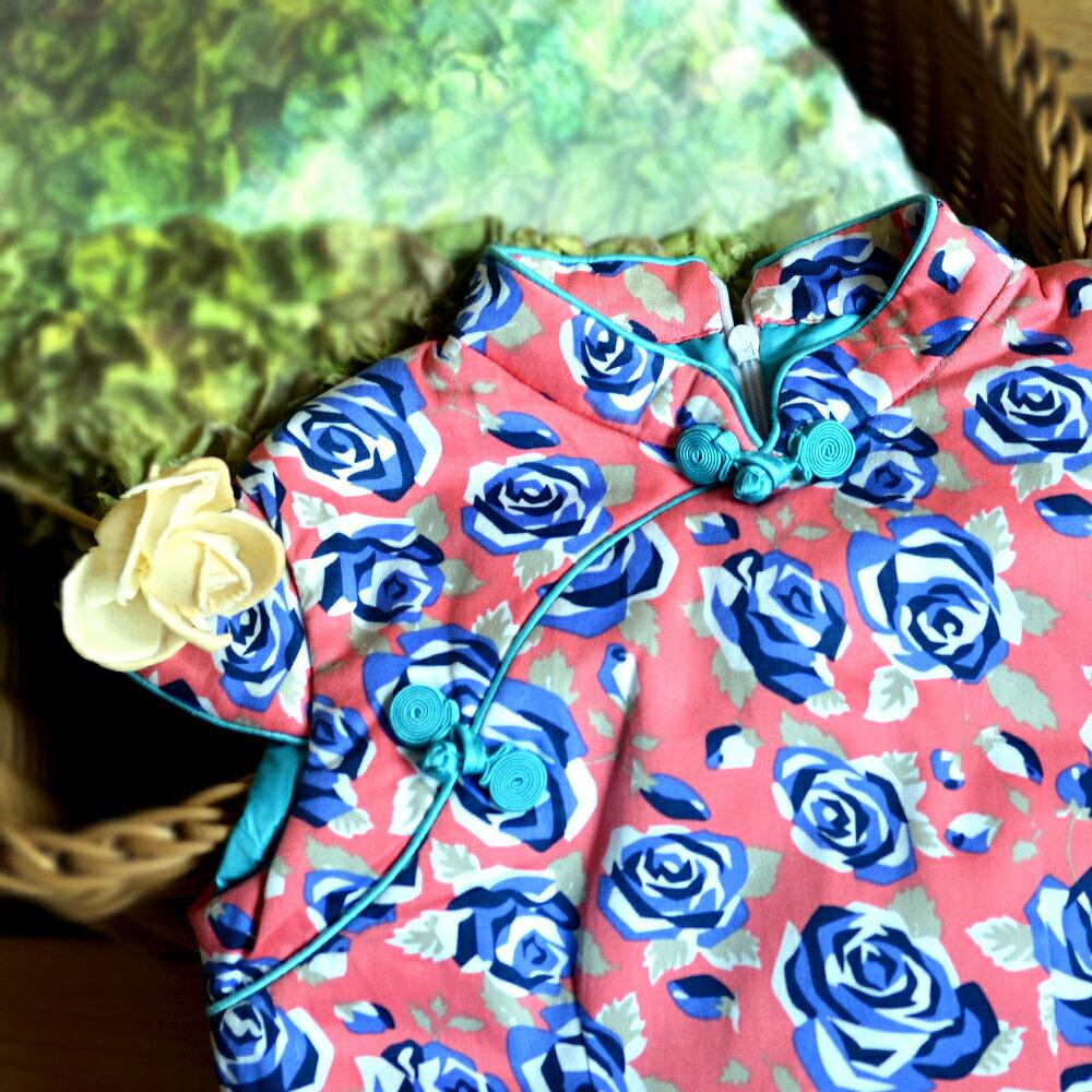 【西村媽媽】經典古風旗袍-冬季 藍玫瑰款