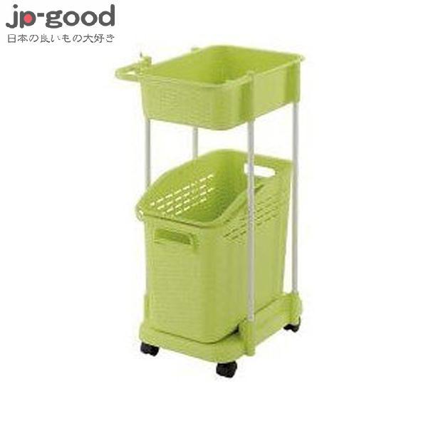 Richell雙層洗衣便利推車-綠色