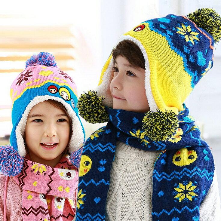 WallFree窩自在★秋冬保暖雪花大頭娃娃造型拚色毛球兒童毛絨帽+圍巾 2件套
