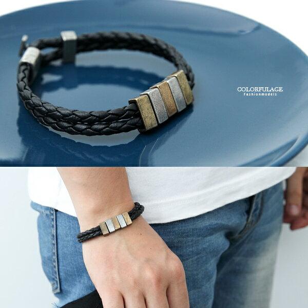 手環復古雙色小方塊雙線皮革手環【NA446】韓國帶回