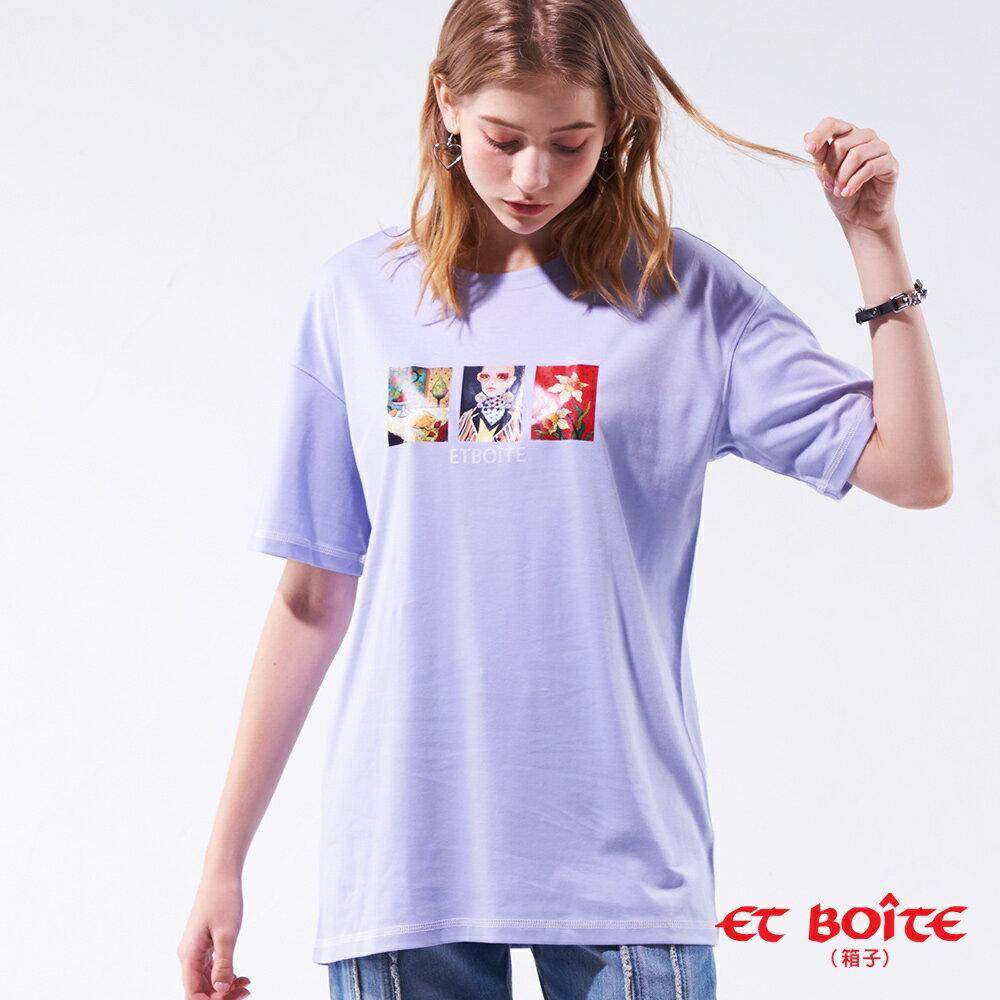 【19'新品】 雕刻印象長版短TEE(紫)- BLUE WAY ET BOîTE 箱子 0