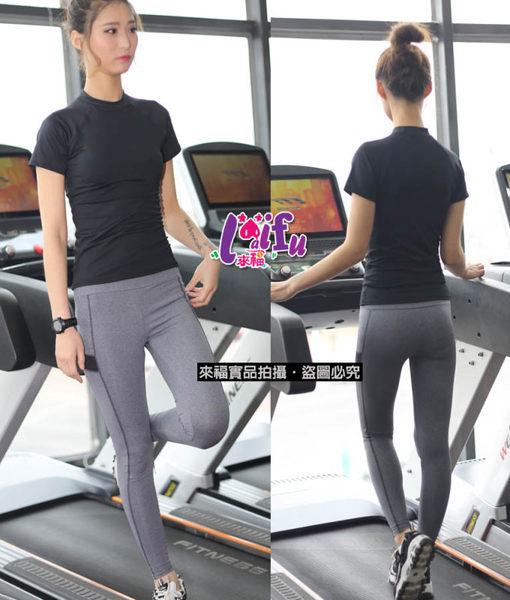 ★草魚妹★B124瑜珈服黑色貼身短袖運動上衣路跑健身服路跑衣,單上衣售價450元