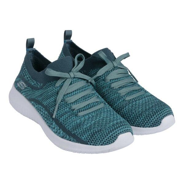SKECHERS女健走鞋ULTRAFLEX(湖水綠)假綁帶套入式休閒鞋12841GRN【胖媛的店】
