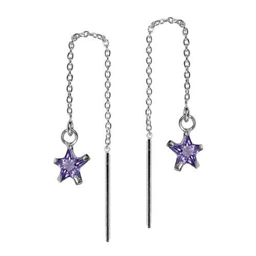 Purple Cubic Zirconia Star Thread Slide Sterling Silver Earrings 1