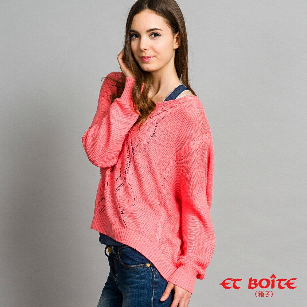 【888元優惠↘】ET BOiTE 箱子  V領寬鬆麻花針織上衣(S-M) 1