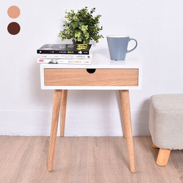 凱堡抽屜小茶几邊桌質感木腳2色可選台灣製造【H07041】