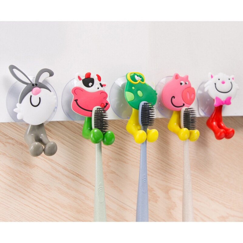 創意吸盤牙刷架 無痕牙刷架小動物牙膏牙座架卡通浴室掛鉤卡通牙刷架