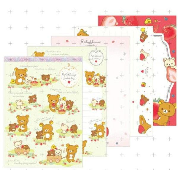 【真愛日本】18032300005日製15th大便條-懶熊採草莓san-x拉拉熊草莓季便條紙便條本