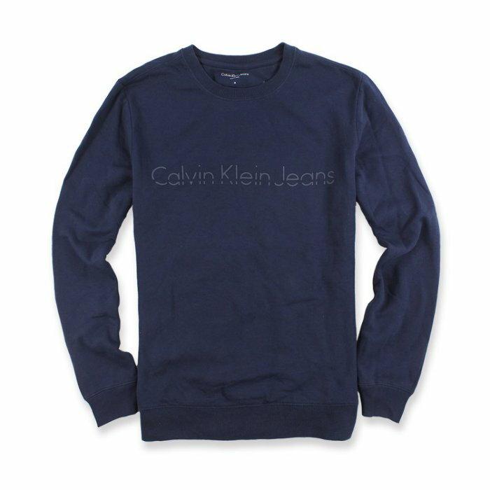 美國百分百【全新真品】Calvin Klein 大學T CK 上衣 長袖 T恤 T-shirt 深藍色 I698