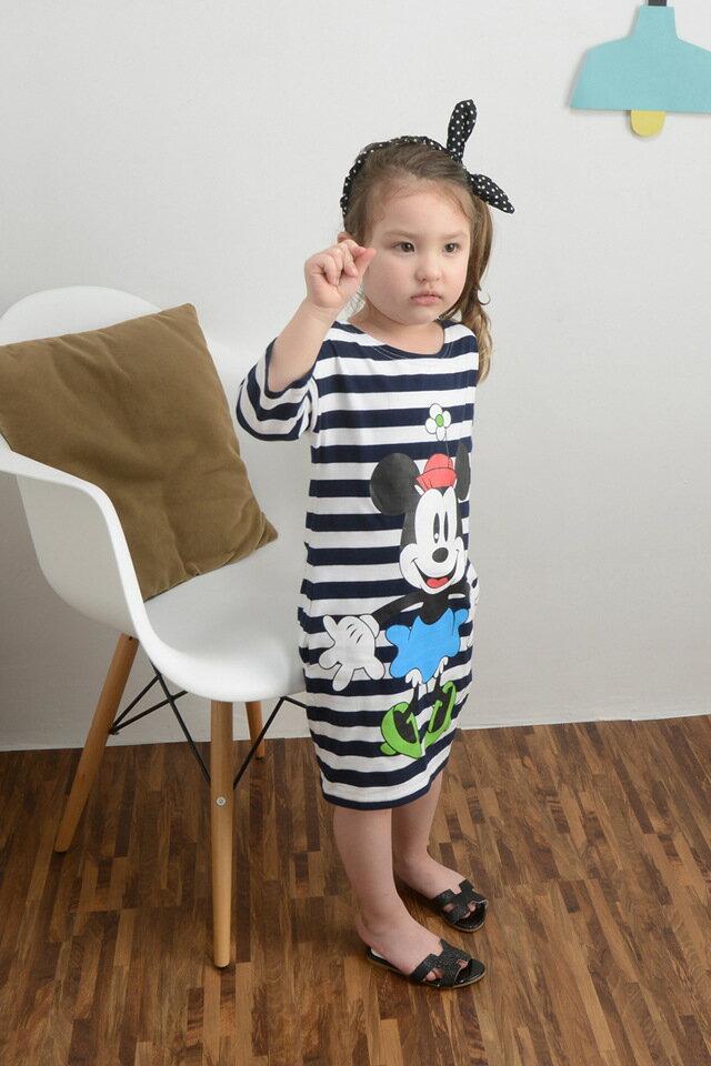 米鼠女童條紋裙子 純棉五分袖連衣裙 100cm- 140cm