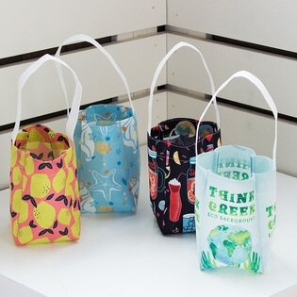 S1全球批發網:【客製化】單杯裝不織布飲料杯袋(全版全彩昇華)10*10*10cm短提把(單)環保袋S1-32026A