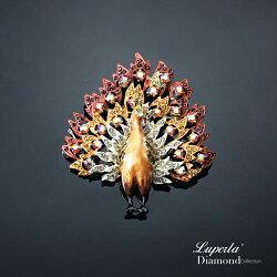 大東山珠寶 璀璨花園系列 手繪彩漆晶鑽胸針 孔雀