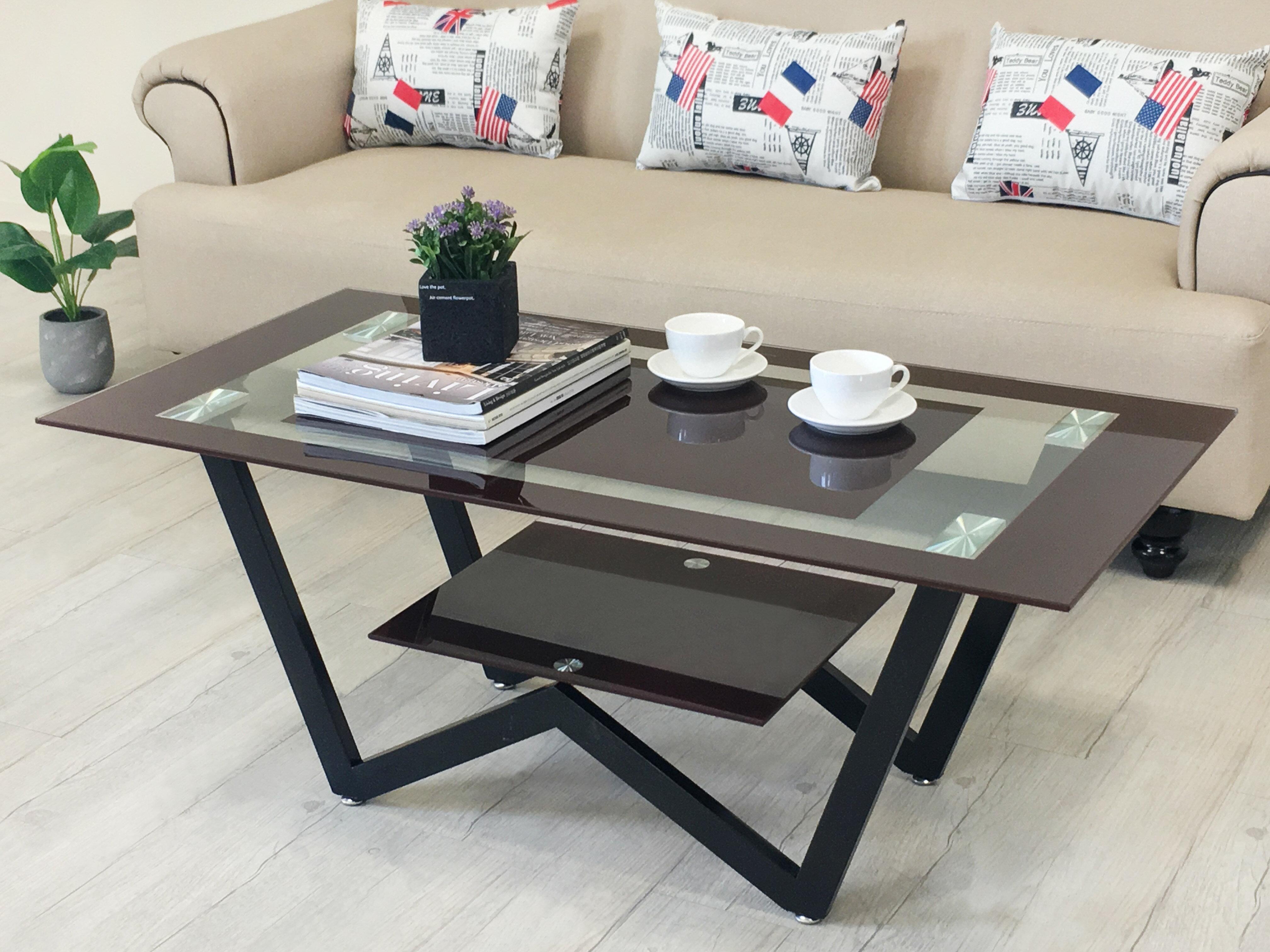 《達芙妮》大茶几 強化玻璃 不銹鋼腳 玻璃茶几 置物 !新生活家具! 樂天雙12 0