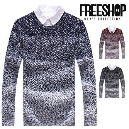 Free Shop【QMD50088】日韓系秋冬拼接混色漸層保暖舒適圓領長袖針織衫毛衣 三色