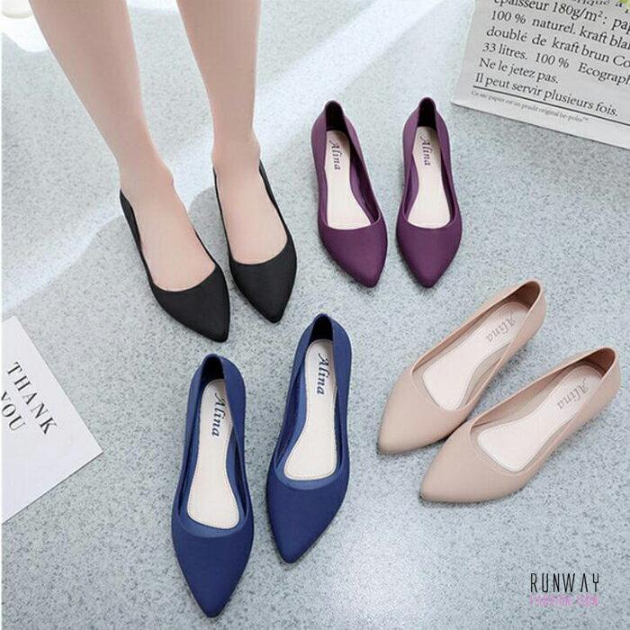 防水尖頭娃娃鞋優雅氣質微跟坡上班鞋工作鞋(4色) X RUNWAY FASHION ICON