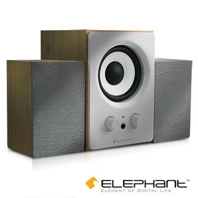 【純米小舖】ELEPHANT-木の匠2.1聲道-白色木質Bass迷你音箱喇叭(SP-005W)~優惠免運